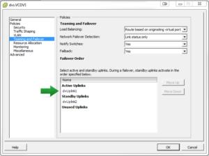 dvs.VCDVS_Teaming Failover Settings